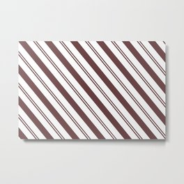 Pantone Red Pear and White Stripes Angled Lines Metal Print