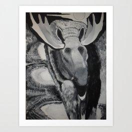 Moose Night Profile Algonquin Art Print