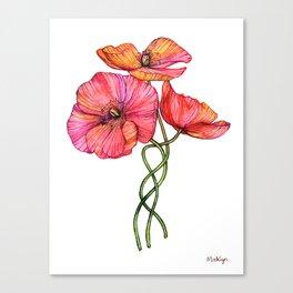 Peach & Pink Poppy Tangle Canvas Print