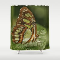 malachite Shower Curtains featuring Malachite Butterfly by Cindi Ressler Photography