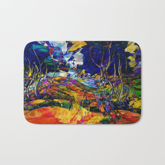 beautiful road in the night autumn forest Bath Mat
