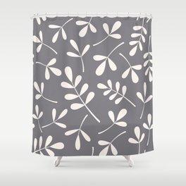 Assorted Leaf Silhouettes Cream on Grey Shower Curtain