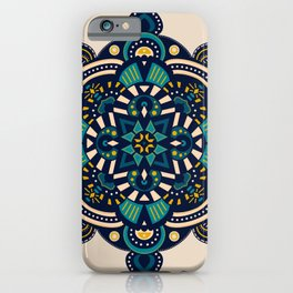 Navy Mandala iPhone Case