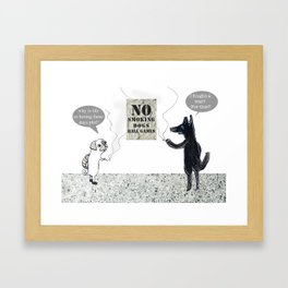 NO SMOKING DOGS BALL GAMES  Framed Art Print