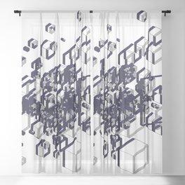 3D Futuristic GEO Lines XII Sheer Curtain
