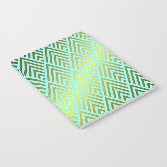 Gold foil triangles on aqua Notebook
