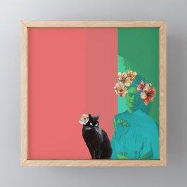Frida and Cat in neon colours. Framed Mini Art Print