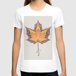 Burnt Orange and Rust Red Autumn Maple Leaf Trio T-shirt
