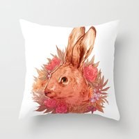hare Throw Pillows featuring Hare by batcii