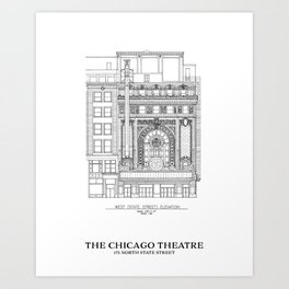 Chicago Theatre Blueprint B&W - West Elevation Art Print