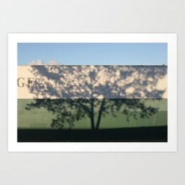 Shadow Tree on an industrial building Art Print