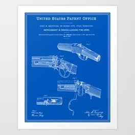 Breech Loading Rifle Patent - Blueprint Art Print