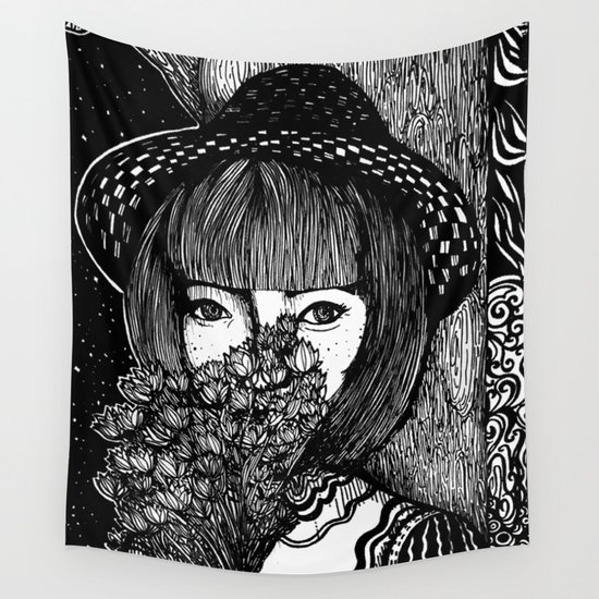 Midnight Flowers Wall Tapestry