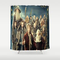 the lord of the rings Shower Curtains featuring the hobbit duvet cover,lord of the rings, by ira gora