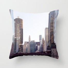 Chicago River Skyline Throw Pillow