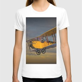 Yellow Biplane with Sunset Cloudy Sky T-shirt