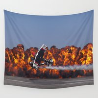 airplanes Wall Tapestries featuring Flight and Flame by Lori Anne Photography