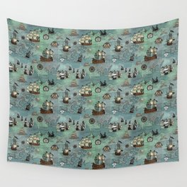 Pirate Ships Nautical Map Wall Tapestry
