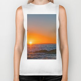Seagull Soaring at Sunset Biker Tank
