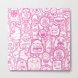 Monsters And Aliens White Pink Pattern Metal Print