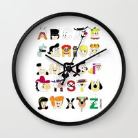 60s Wall Clocks featuring Child of the 60s Alphabet by Mike Boon