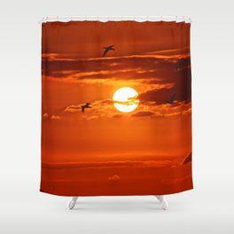 Red Sunset2 False Bay Shower Curtain