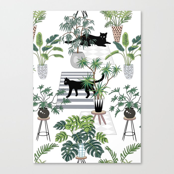 cats in the interior pattern Canvas Print