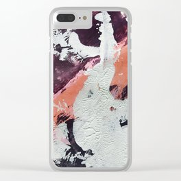Taboo: a vibrant, abstract, mixed-media piece in purple, orange, and light blue Clear iPhone Case