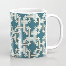 Vintage tangled squares net teal pattern Coffee Mug