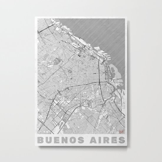 Buenos Aires Map Line Metal Print
