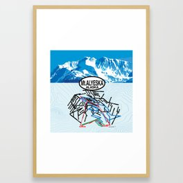 Mt. Alyeska, Alaska Ski Trail Map Framed Art Print