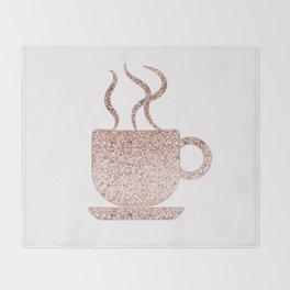 Sparkling rose gold coffee mug Throw Blanket