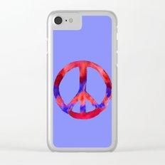 Patriotic Peace Sign Tie Dye Watercolor on Blue Clear iPhone Case
