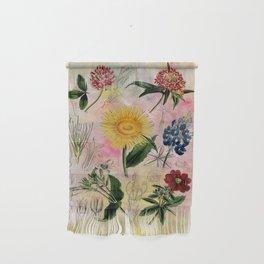 Botanical Study #5, Vintage botanical illustration collage art Wall Hanging