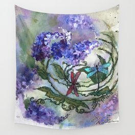 Purple Circle of Lilacs by SK Wall Tapestry