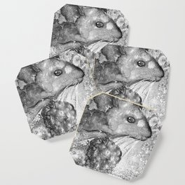 black and white : mouse Coaster