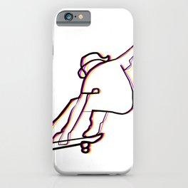 skater illustration, skateboard one liner outline drawing iPhone Case