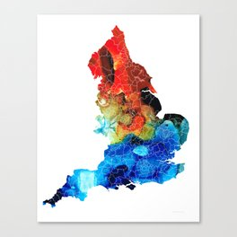 England - Map of England by Sharon Cummings Canvas Print