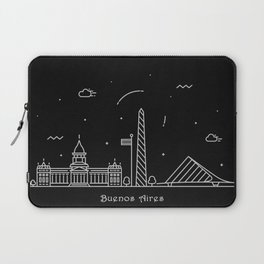 Buenos Aires Minimal Nightscape / Skyline Drawing Laptop Sleeve