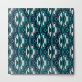 Tribal Diamond Pattern in Navy, Teal and Gray Metal Print