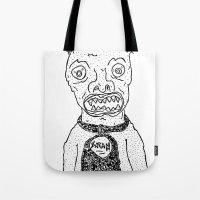 satan Tote Bags featuring Satan by SECRET EYE