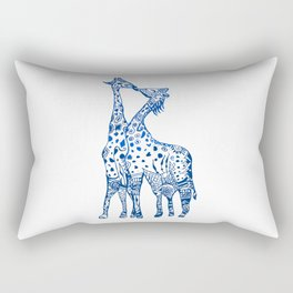Giraffes kiss art Rectangular Pillow