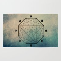 pentagram Area & Throw Rugs featuring order out of ch... by yuvalaltman