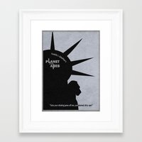 planet of the apes Framed Art Prints featuring Planet of the Apes by Ayse Deniz