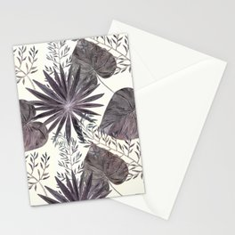 Gray tropical pattern on light beige background. Stationery Cards