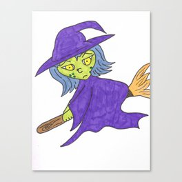 Little Witch on broom Canvas Print