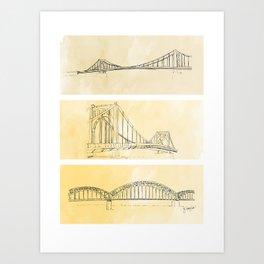 Pittsburgh Bridges Art Print