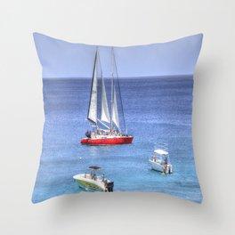 Barbados Blue Sea Boats Throw Pillow