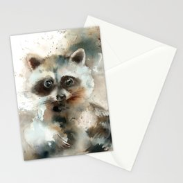 Racoon Colorful Watercolor Loose Style Painting Stationery Cards