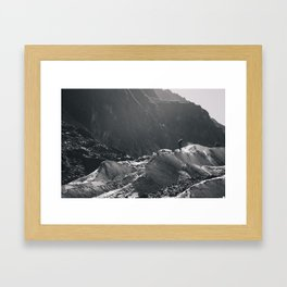 carving the ice - b&w Framed Art Print